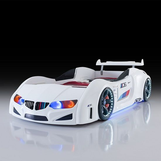Best Bmw Childrens Car Bed In White With Led Lighting And 640 x 480