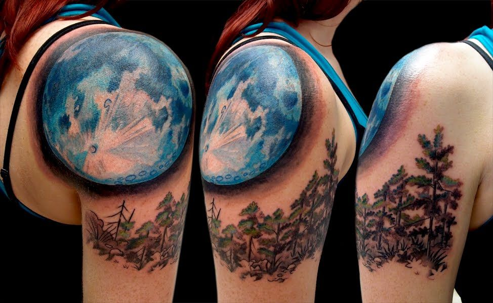 Temporary Blue Half Moon Tattoo Realistic Moon Tattoo Big Blue Moon Shoulder Piece Realistic Moon Tattoo Tattoos Moon Tattoo