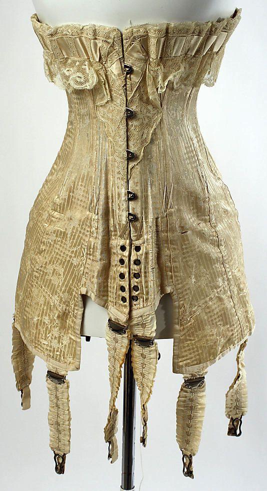 Corset  Date: December 3, 1910     Culture:   French                     Medium:      silk        Dimensions: Length at CB: 18 in. (45.7 cm)