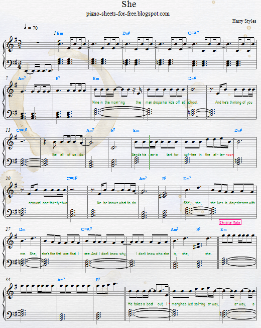 Free Pdf Easy Harry Styles She Piano Sheet Music Download From