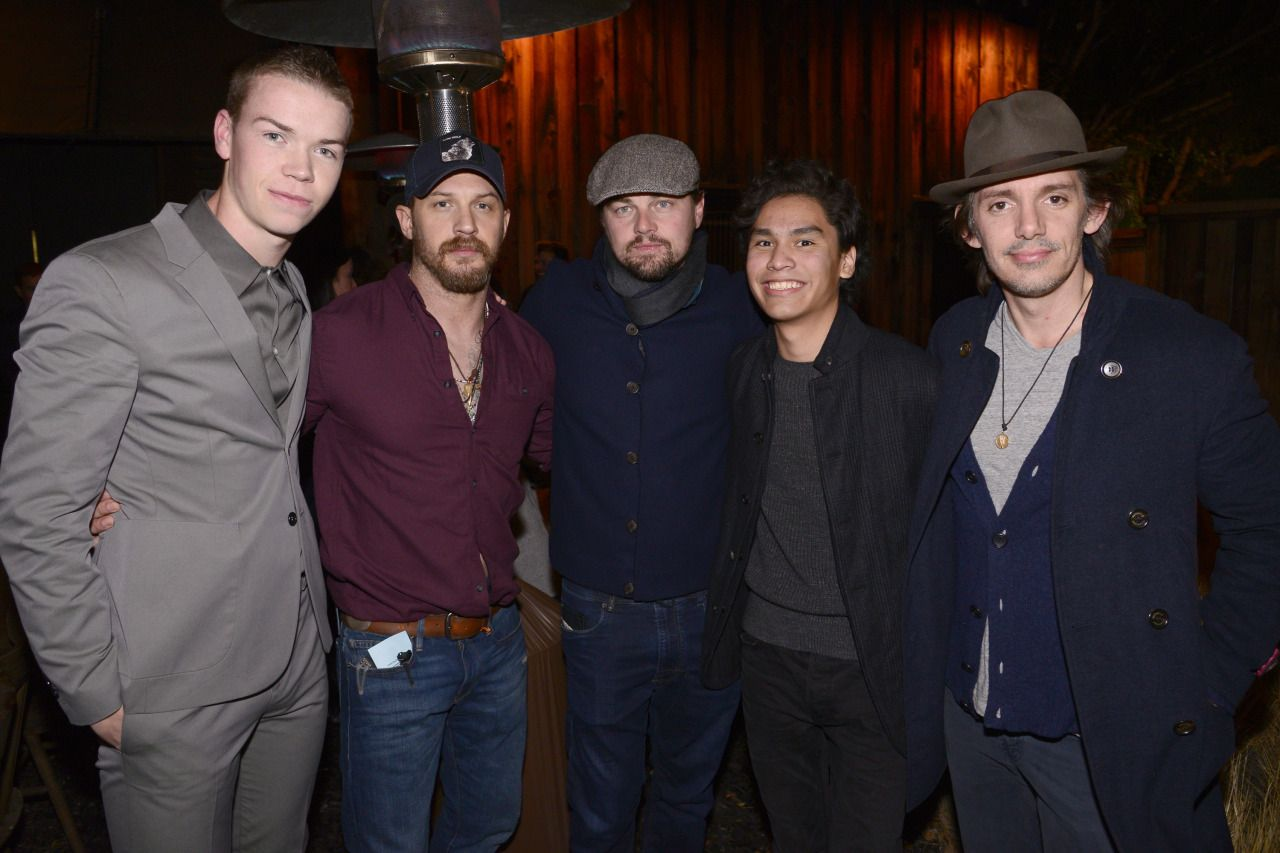 "Will Poulter, Tom Hardy, Leonardo DiCaprio, Forrest Goodluck and Lukas Haas at ""The Revenant"" Party at MadeWorn hosted by Edward Norton, Shauna Robertson and Brett Ratner and sponsored by Bulleit Rye on Tuesday, Dec. 15, 2015, in Los Angeles."