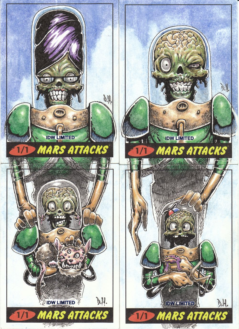 Mars attacks the family photo handdrawn sketch card