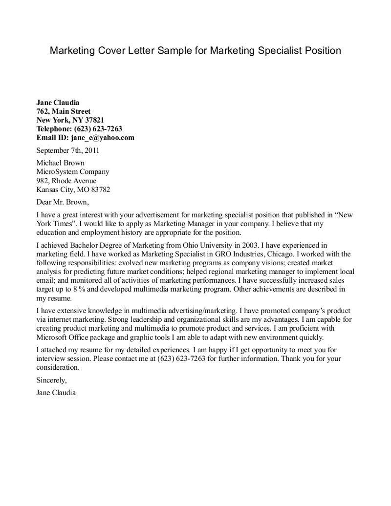 Cover letter sample for internship marketing resume du film le temoin du mal