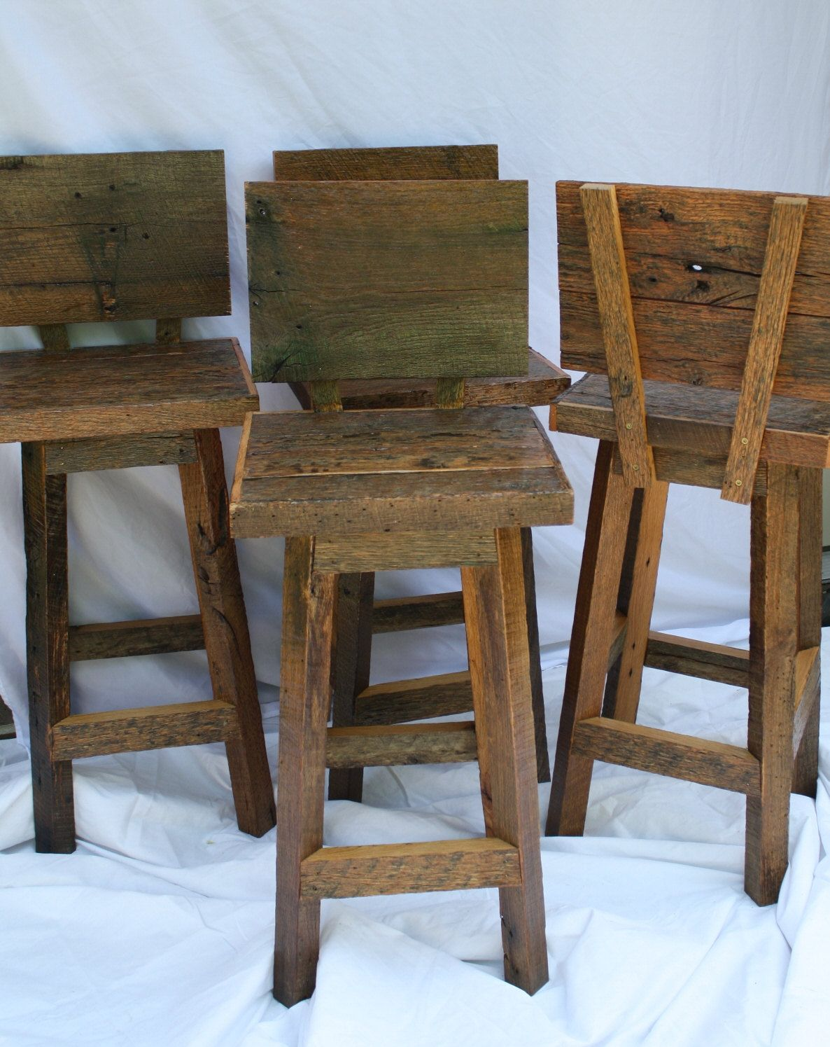 Jennifers Custom Reclaimed Rustic and Recycled Oak Barn Wood Rectangle 25 inch Top Bar Stool with Backs & Handmade Bar Stools with Backs with 24