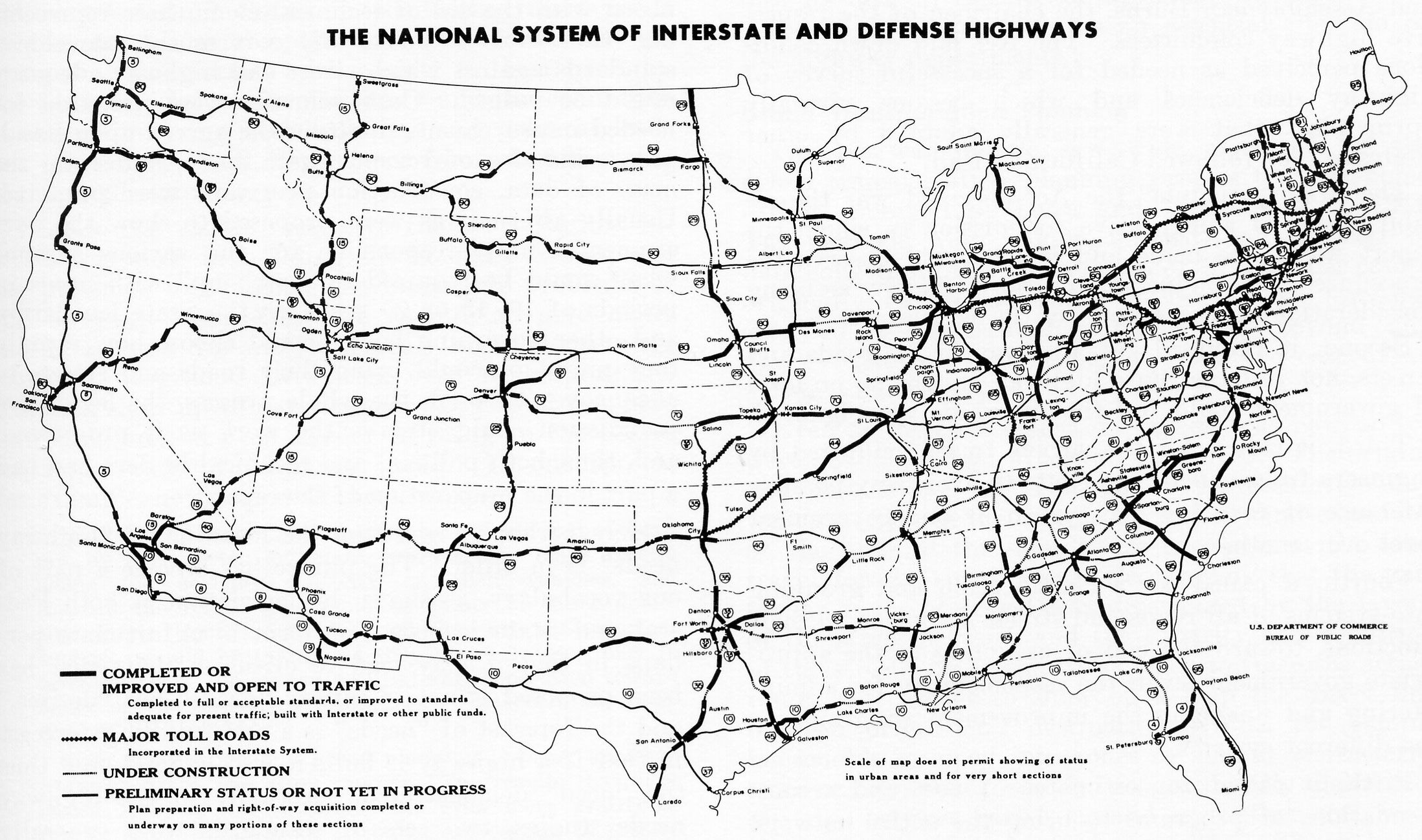 Interstate road map of eastern us