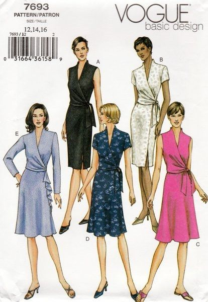 Vogue Basic Design Women Mock Wrap Dresses Sewing Pattern 7693 Miss 12 14 16 Sewjewel 2