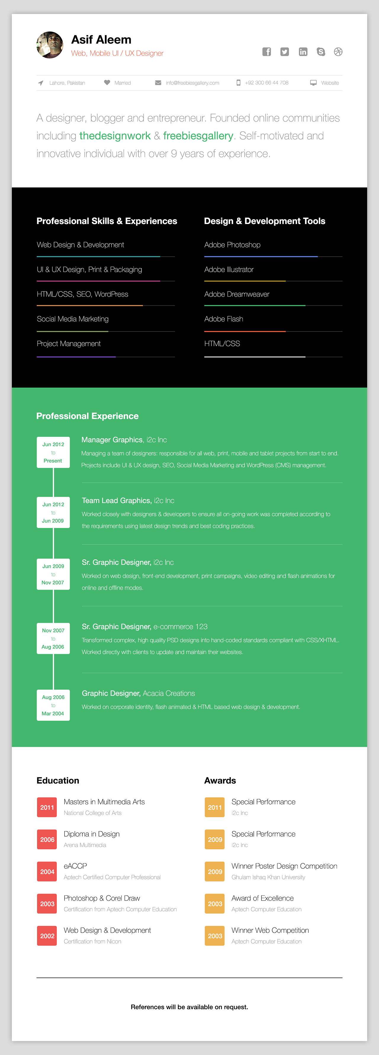 free-one-page-web-resume-template.png (1280×3556) | UI | Pinterest ...