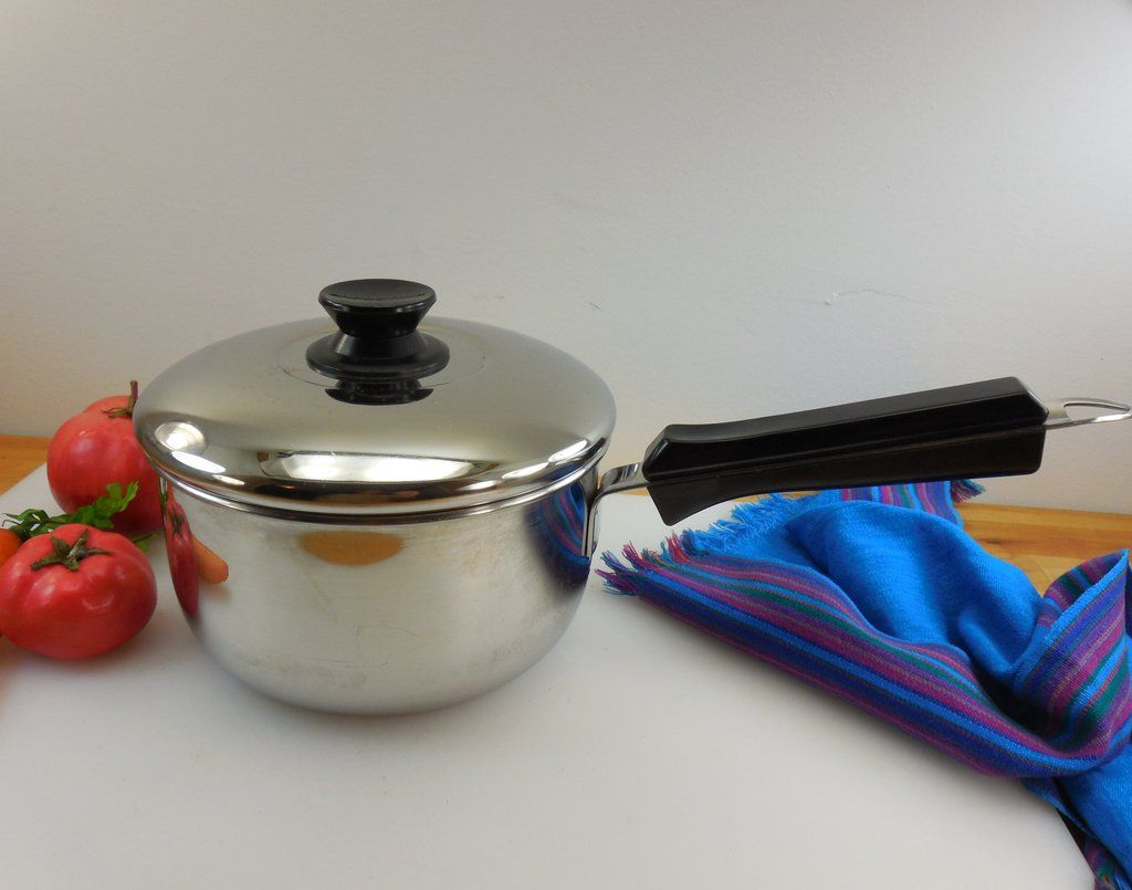 Sold Lagostina Italy Thermoplan 2 Quart Saucepan And Lid Stainless Aluminum Disc Lagostina Saucepan Stainless