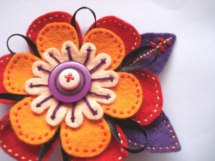 felt flower pin   Wedding Day PinsWedding Day Pins