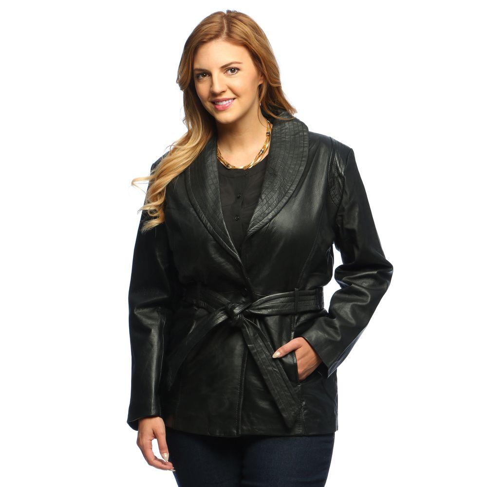29e37bf6631da Collezione Italia Women s Plus Size Leather Wrap Coat