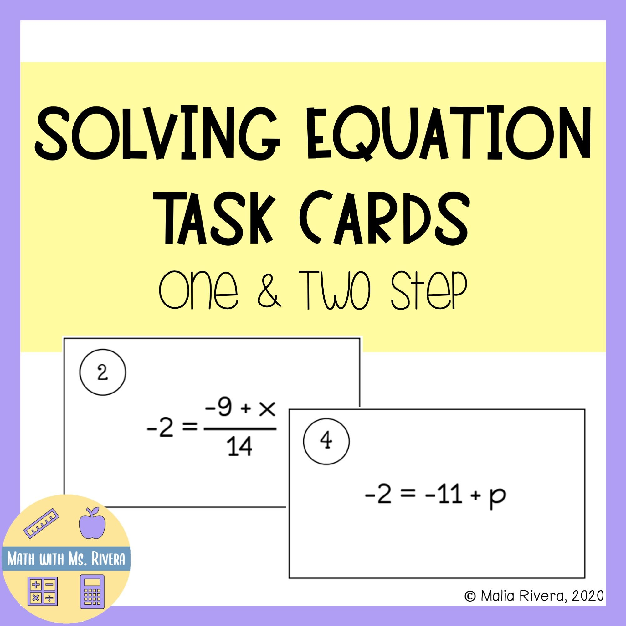 Solving One Amp Two Step Equation Task Cards In