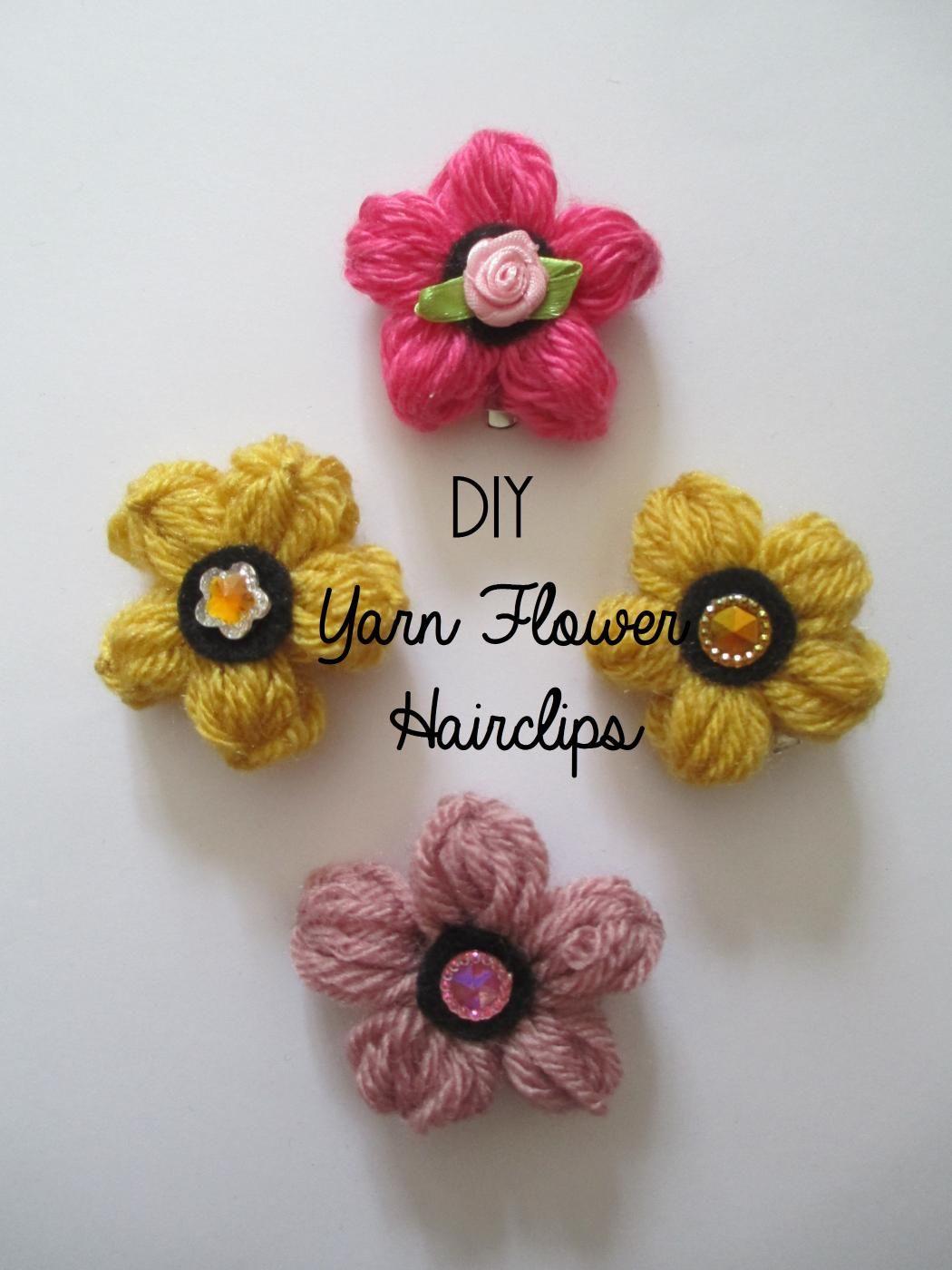 Diy Tutorial Diy Hair Diy Yarn Flower Hairclips
