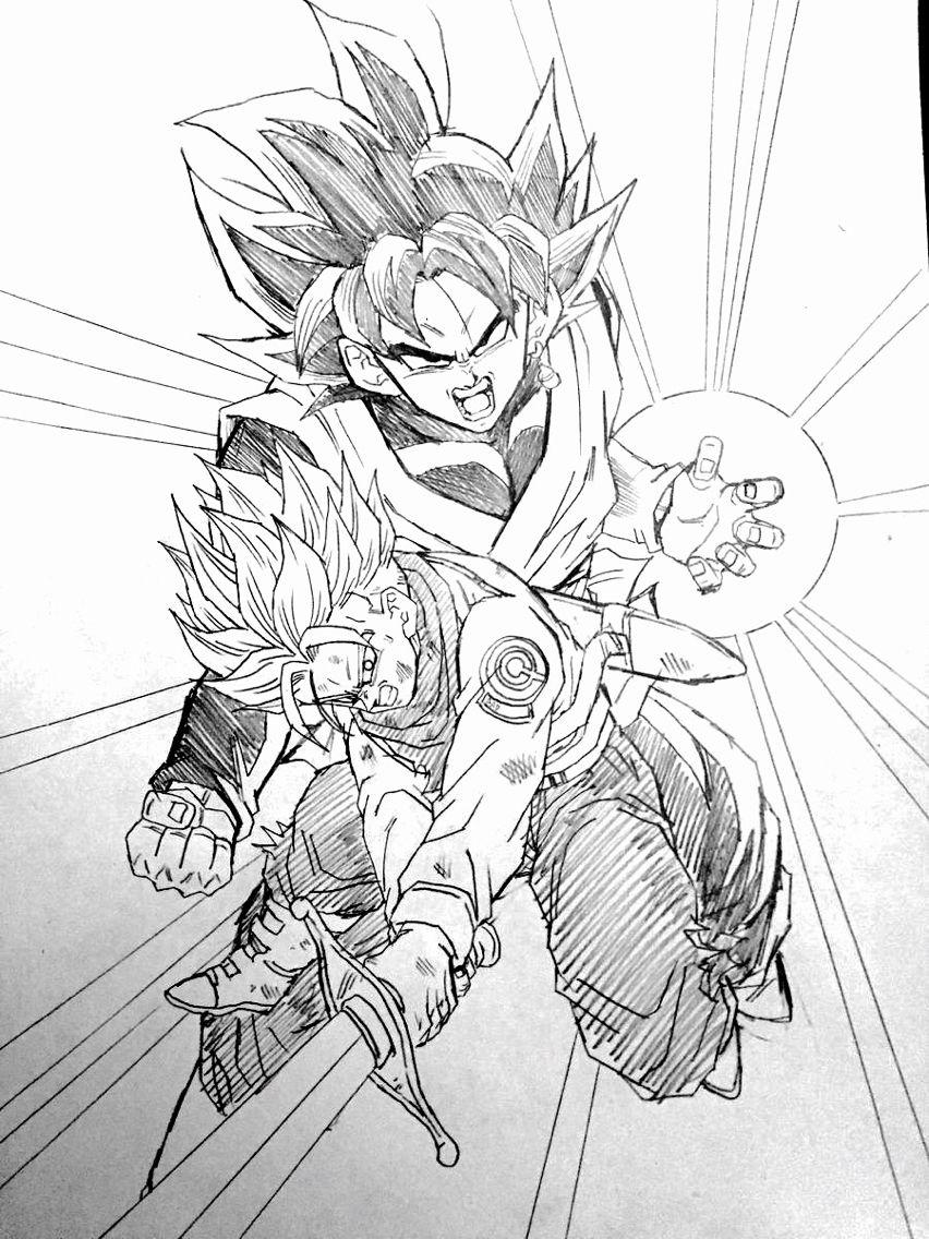 Trunks Vs Black Goku Drawn By Young Jijii Image Found By