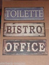 Metal Shabby Sign Office Bistro or French Toilettes Chic door Wall Plaque