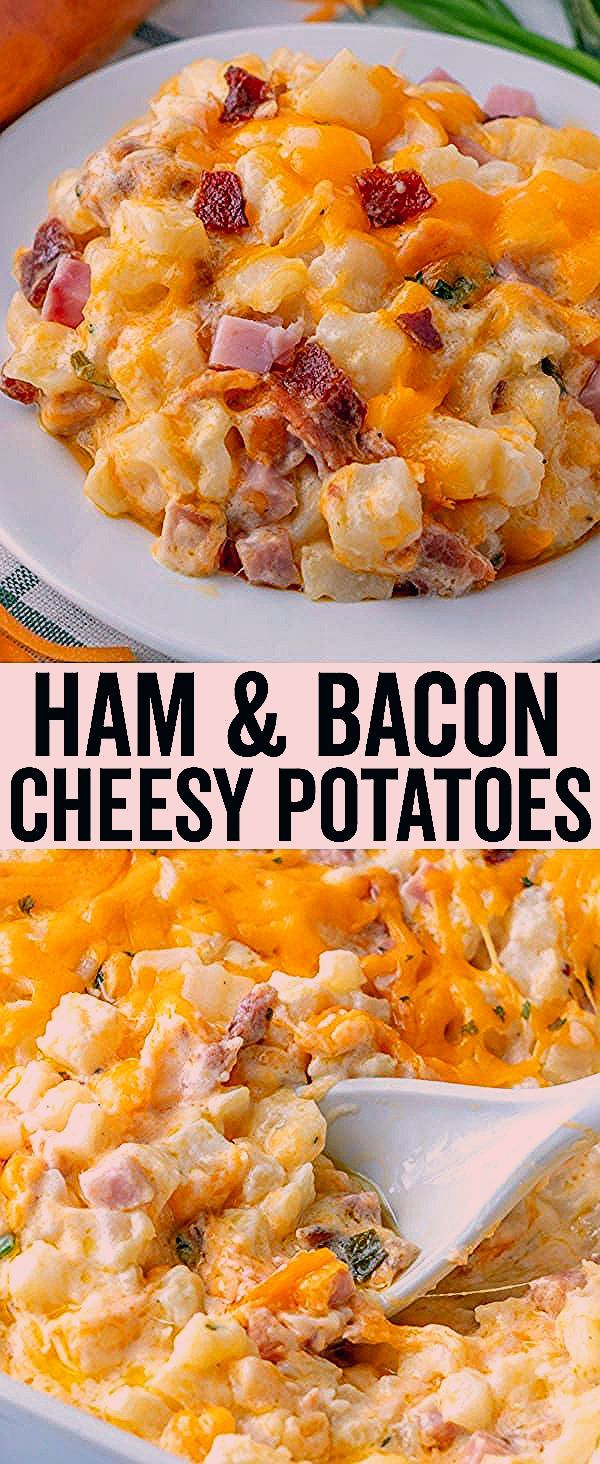 Hearty, creamy and flavorful these Cheesy Potatoes are filled with bits of ham, crumbled bacon, loa