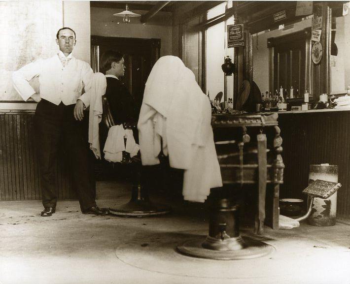 Old Time Barbershop In Upper Michigan Date Unknown Vintage Barber Barber Shop Barber