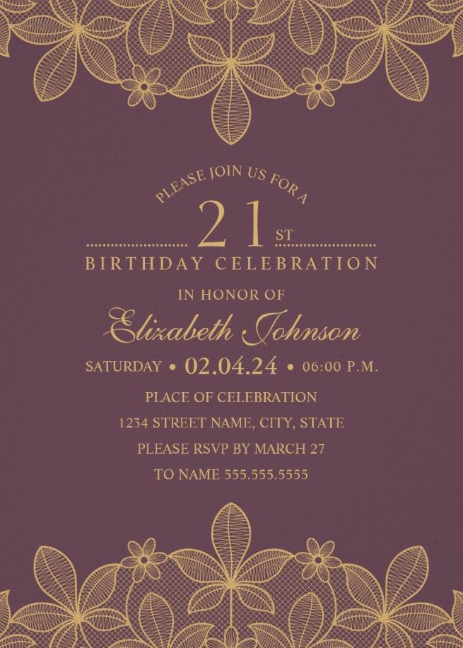 Golden Lace Wine Red 21st Birthday Invitations Elegant Luxury