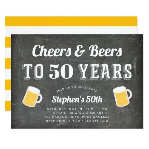 Cheers & Beers Milestone Birthday Party Invitation | Zazzle.com #50thbirthdaypartydecorations