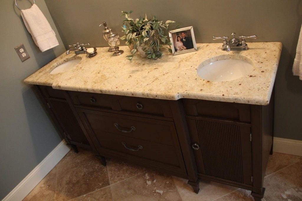 My Diy Vanity Project Craigslist Dresser Turned Vanity With Granite Remnant I Installed Myself See Diy Vanity Traditional Bathroom Vanity Diy Vanity Projects