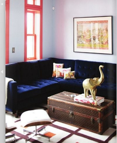 blue velvet sofa brass elephant rue mag living rooms i pinterest decor room and living room. Black Bedroom Furniture Sets. Home Design Ideas