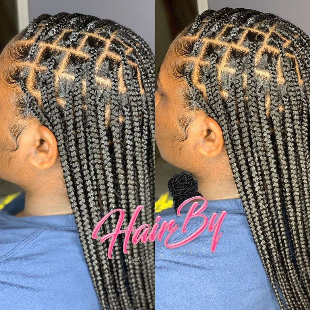 Feed in braids sleek Half up ponytail with half down sew in using deep wave hair installed by @styleswith_gawjus_foreign #feed in Braids half up half down Half up Half down with feed in braids