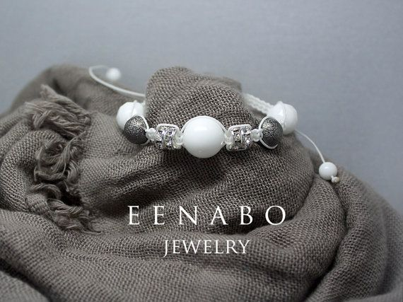White Faceted Agate and Rhinestone Knitted Macrame by EENABO, $69.00