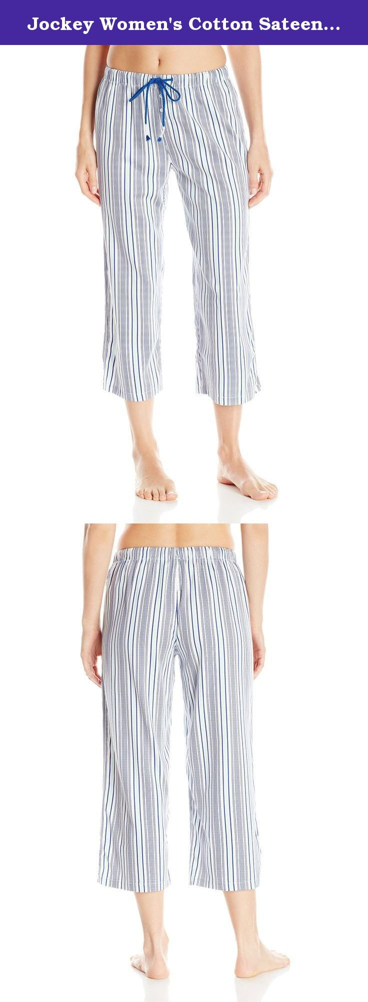 Jockey Women's Cotton Sateen Capri Pant, Woven Stripe, Small. Designed for effortless comfort, the Jockey cotton sateen capri pant is a classic favorite for sleep or lounge.