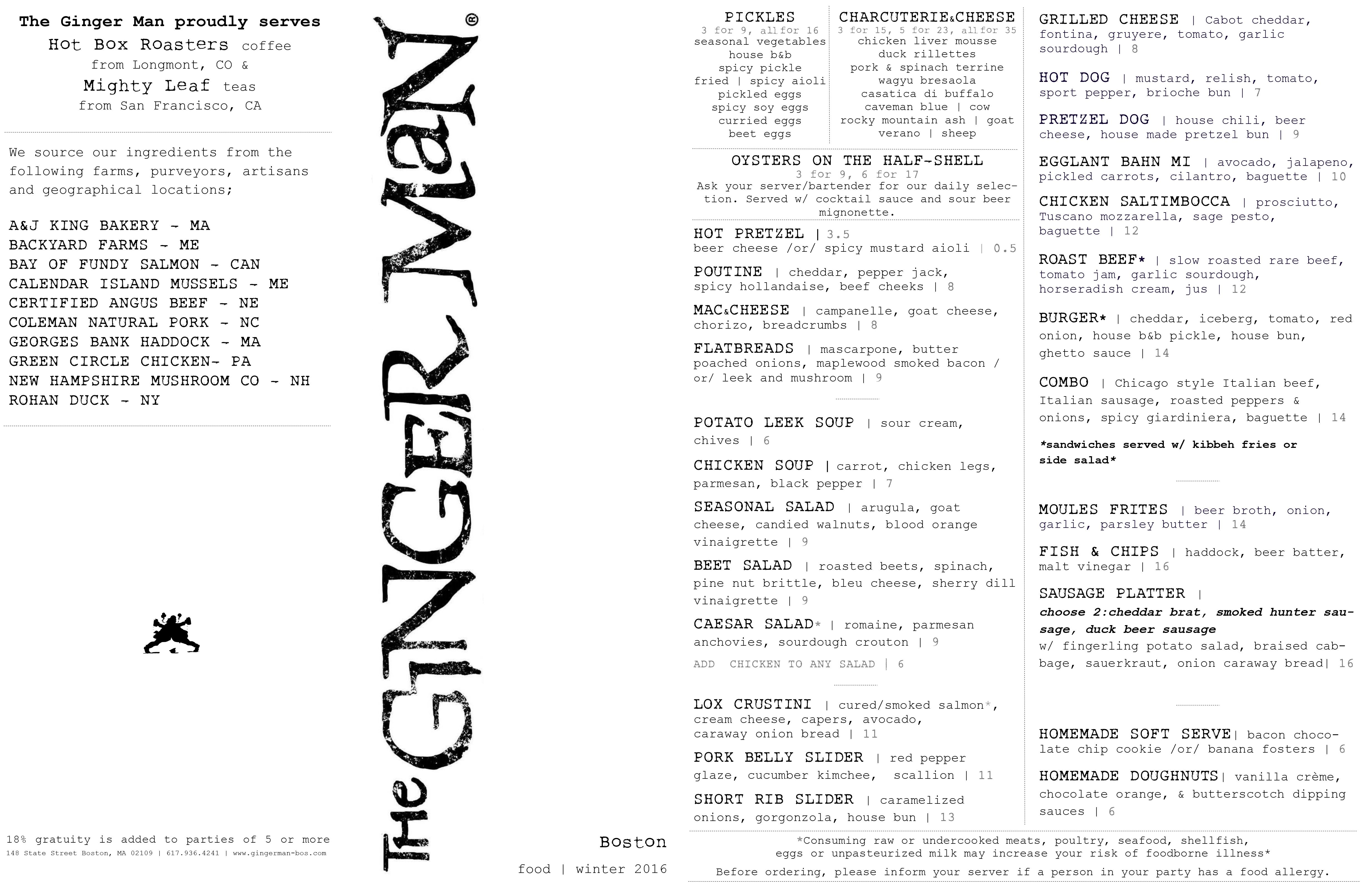 Check Out The Menu At The Ginger Man Boston Opening Tonight Ginger Men Ginger Spicy Pickles