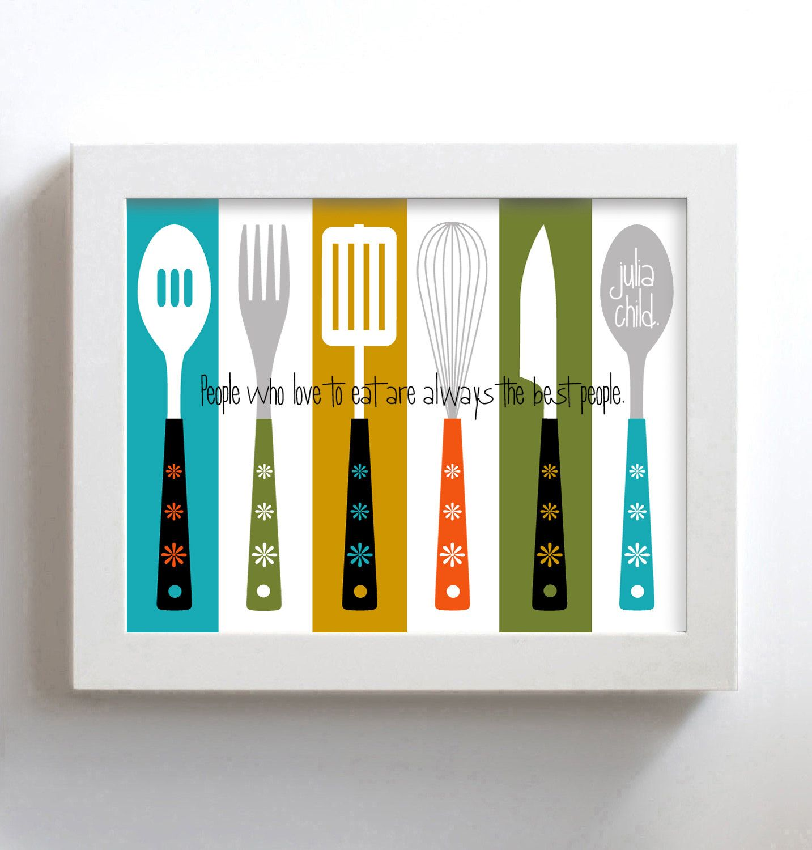 Kitchen Art Mid Century Modern Art for Kitchen Decor Print Julia
