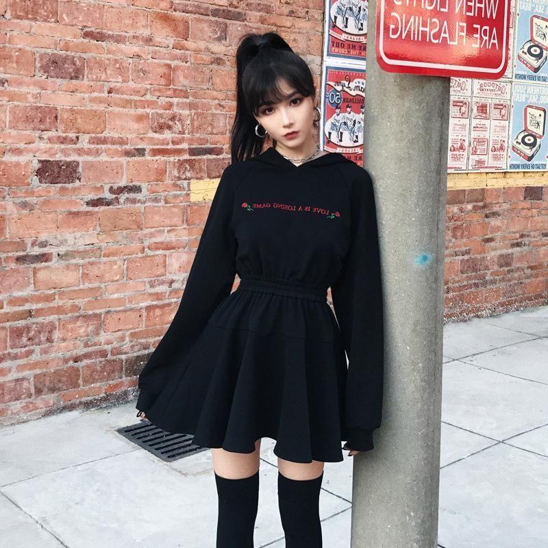 Rose Letter High Waist Hooded Black Dress