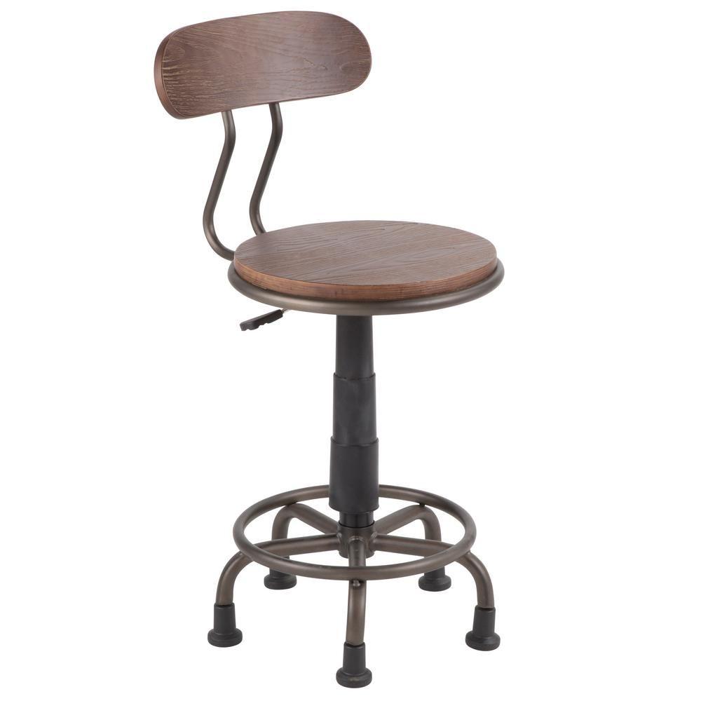 Lumisource dakota antique metal and espresso wood task chair