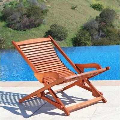 Vifah Roch Eucalyptus Folding Patio Lounge Chair Patio Lounge