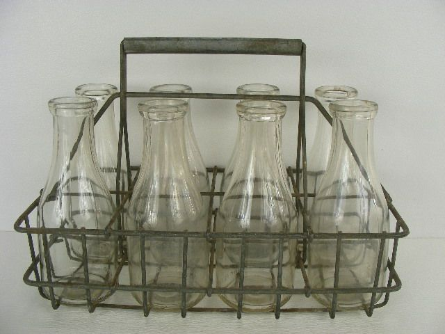 Vintage Old Antique Milkman Milk Bottle Carrier And Eight Milk Bottles Vintage Milk Can Vintage Milk Bottles Milk Bottle