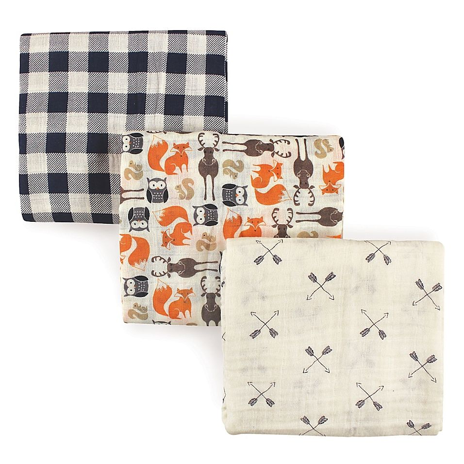 Hudson Baby 3 Pack Forest Muslin Swaddle Blankets Navy