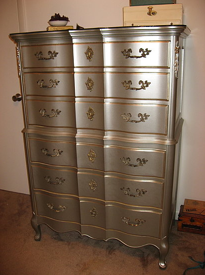 Wooden Furniture French Provincial I Used Nickel Colored Spray Paint From Lowe S The