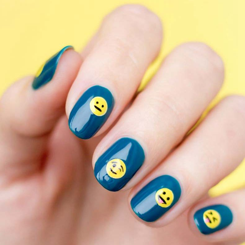 Cute Emoji Nail Art Design Nail Gel Polish Smile Laughing Face Style For Festival Party Fall Winter Fashi Emoji Nails Cute Nail Art Designs Nail Designs Summer