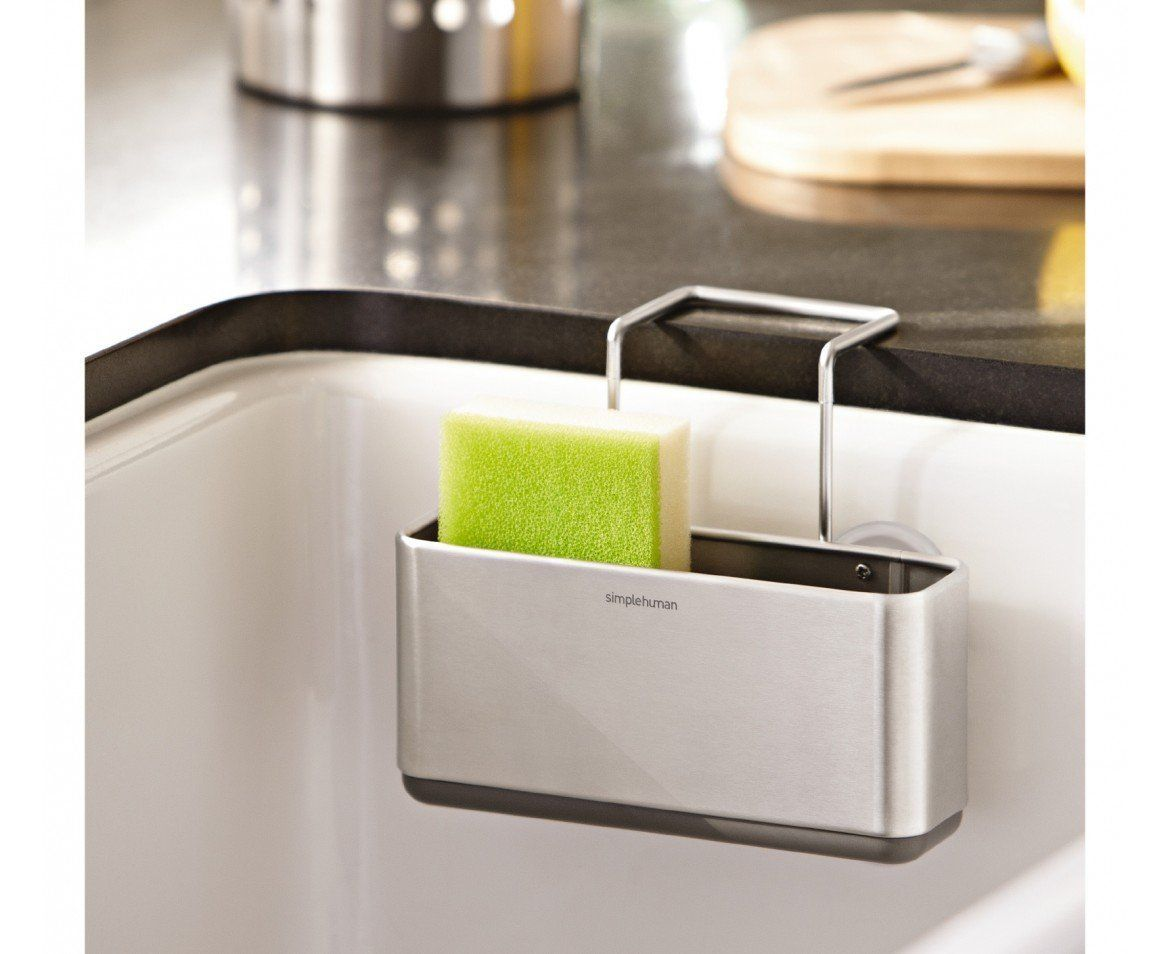 Amazon.com   Simplehuman Slim Sink Caddy, Brushed Stainless Steel   Sponge  Holder For Kitchen Sink