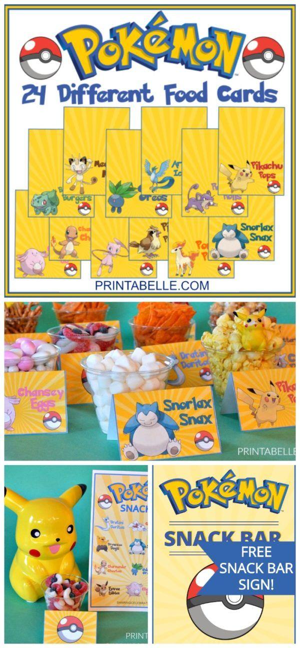 Photo of Pokemon druckbare Party Food Karten + kostenlose Snack Bar Zeichen