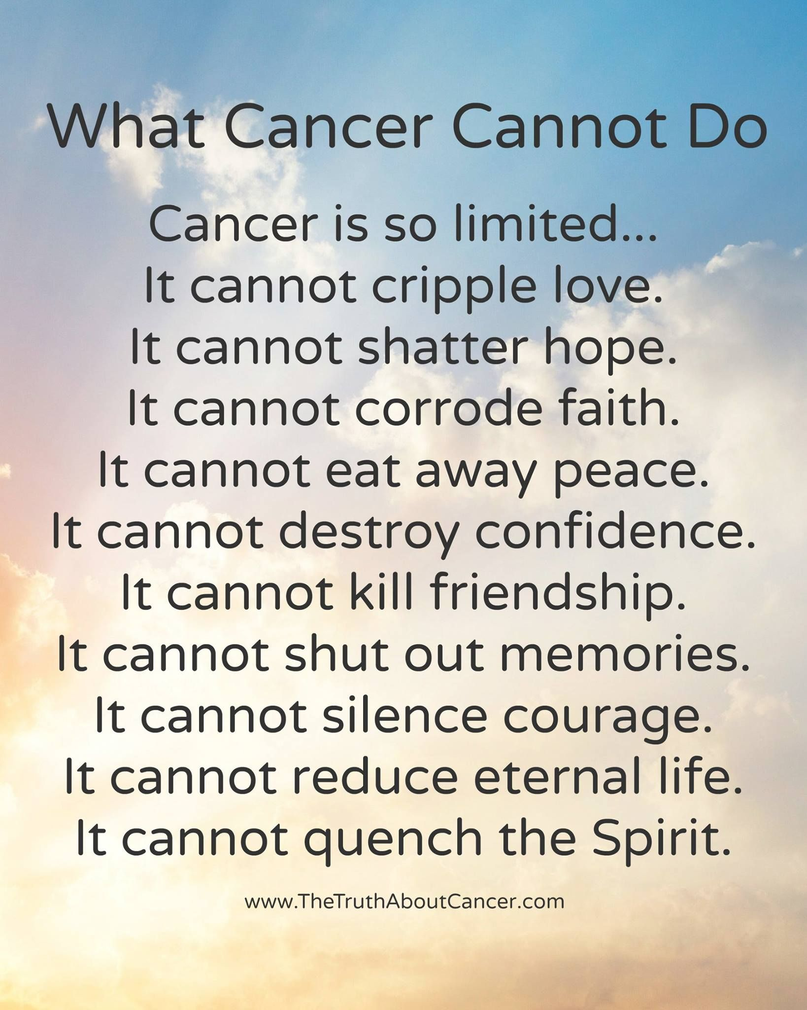What Cancer Cannot Do Cancer Is So Limited It Cannot Cripple
