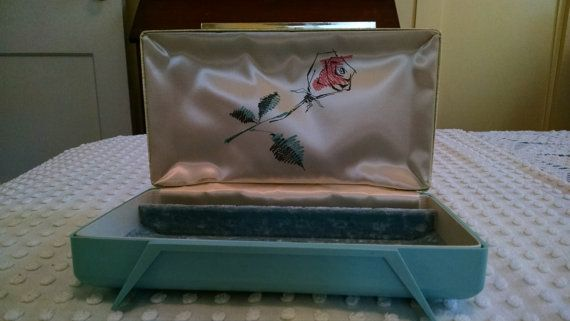 Farrington Jewelry Box Retro Vintage Aqua Teal Pink Farrington Jewelry Box White Satin Blue