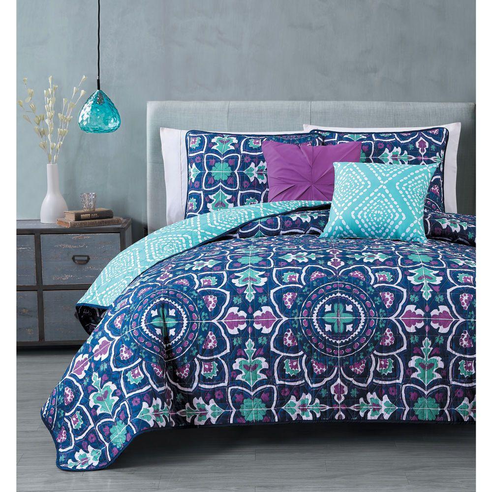 New Queen King Bed Navy Blue Purple Medallion Reversible 5 Pc Quilt Coverlet Set Best Bedding Sets Bedding Sets Quilt Sets