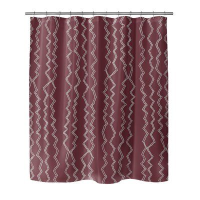 Ivy Bronx Fromberg Geometric Single Shower Curtain Red Shower