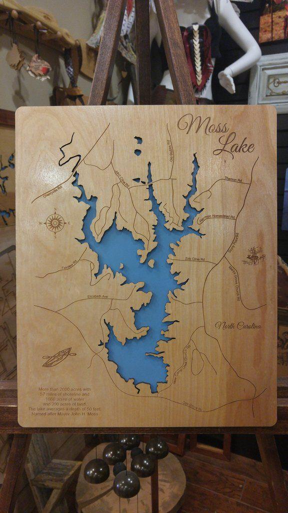 Moss Lake, North Carolina - Wood Laser Cut Map | Standout