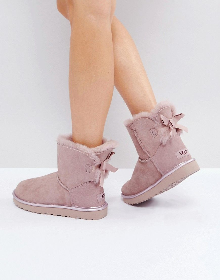 UGG MINI BAILEY BOW II METALLIC - Bottines rose