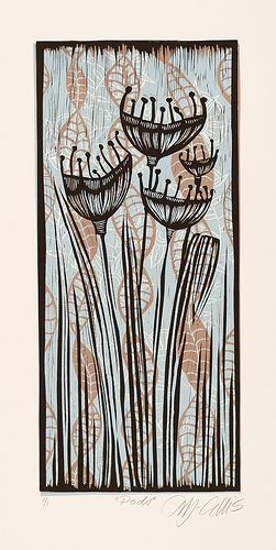 Pods Linocut Art Art Linocut Prints