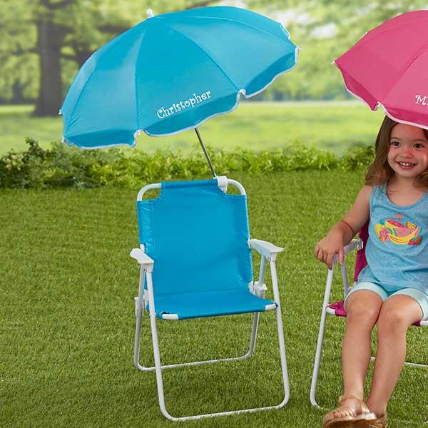 Awesome Kids Blue Beach Chair Personalized Umbrella Set By Customarchery Wood Chair Design Ideas Customarcherynet