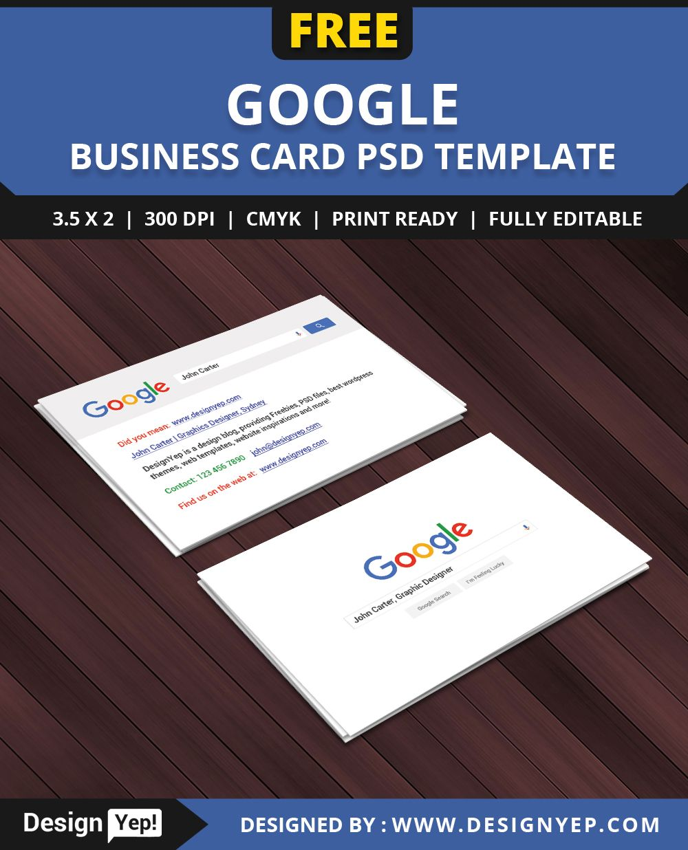 Free Google Interface Business Card PSD Template Free Business - Google business card template