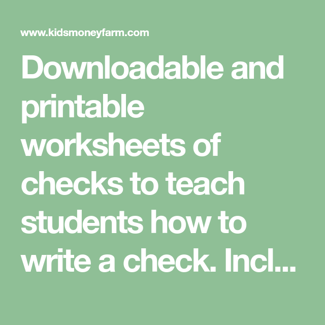 downloadable and printable worksheets of checks to teach students