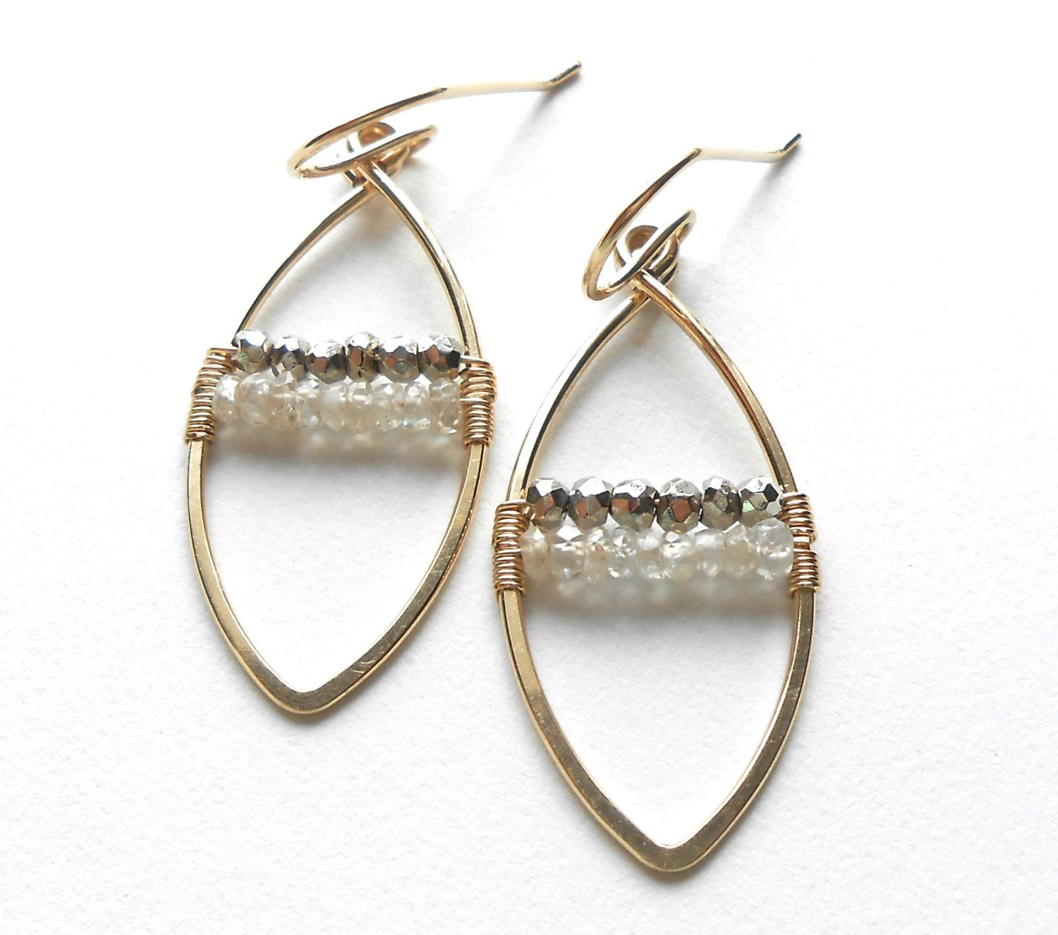 Gold Gemstone Hoop Earrings, Zircon and Pyrite Wire Wrapped Marquise ...