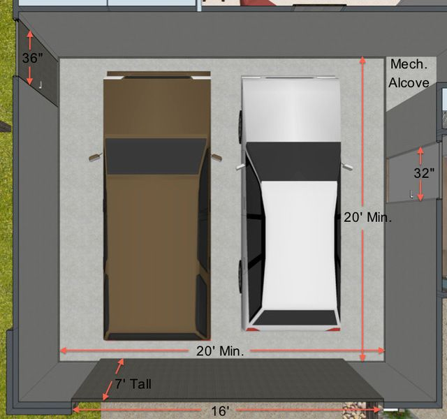 20 39 x 20 39 is the best minimum dimension for the average for Four car garage size